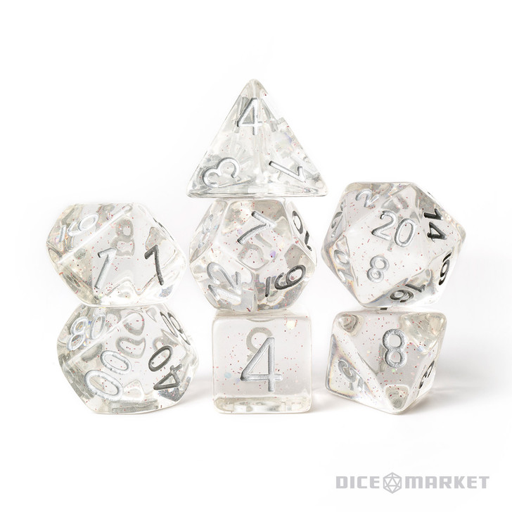 Clear Dice Fine Red Glitter 7pc Polyhedral Dice Set