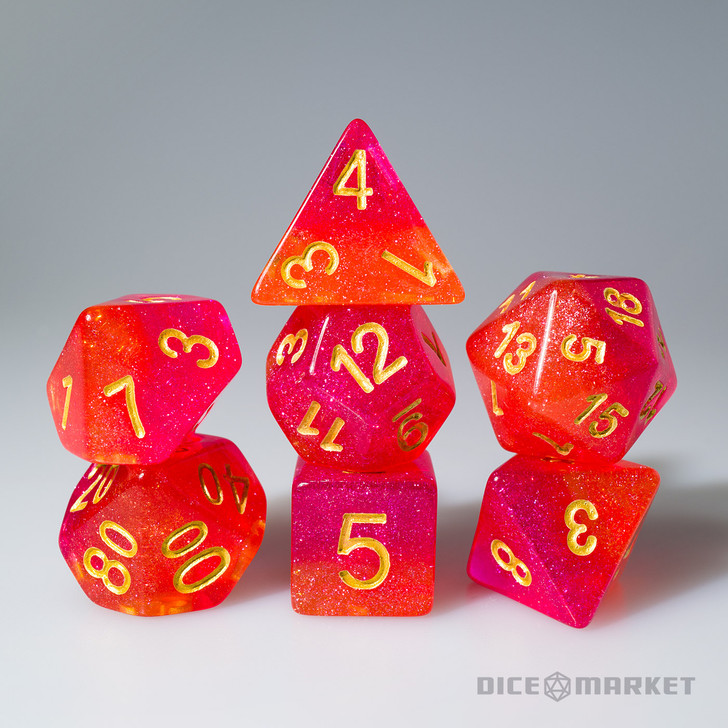 Two Layer Red and Orange Glitter 7pc Polyhedral Dice Set