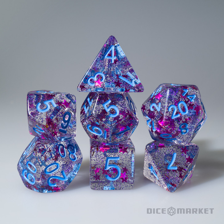 Magenta Glitter and Purple Stars with Blue Ink 7pc Polyhedral Dice Set