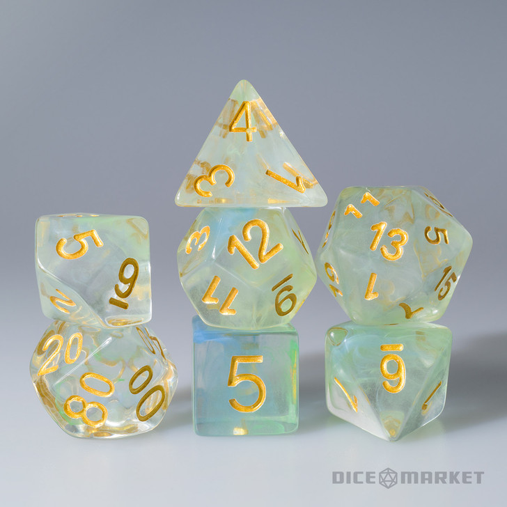 Teal and Light Green Swirl with Gold ink 7pc Polyhedral Dice Set