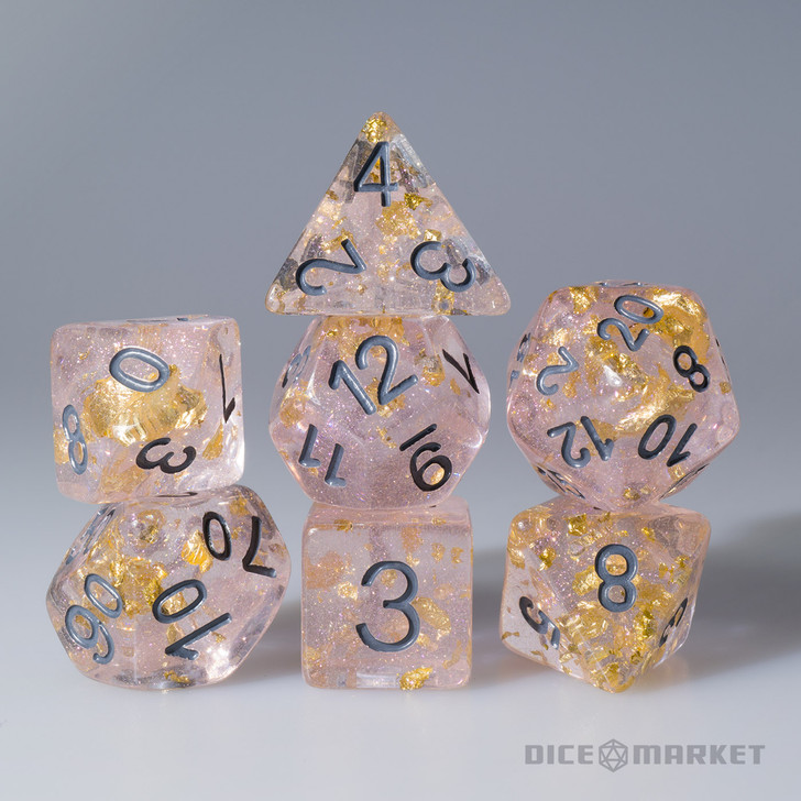 Grey Ink Pink with Gold Leaf Filled 7pc Polyhedral Dice Set