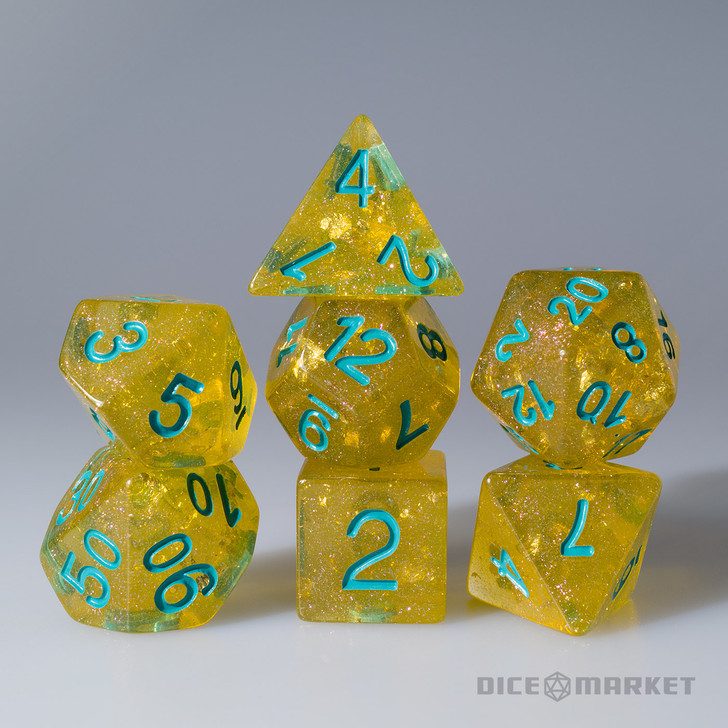 Gold Leaf with Teal Ink 7pc Polyhedral Dice Set