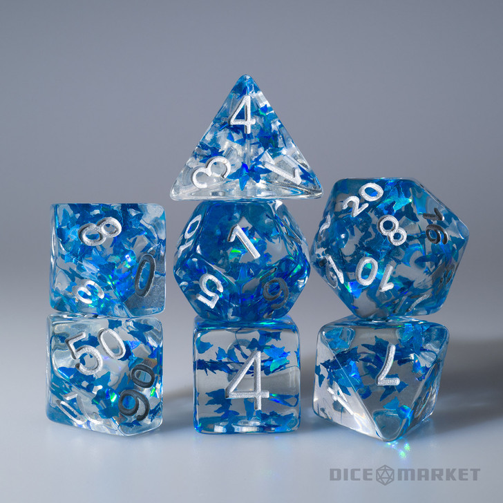 Blue Butterflies Filled 7pc Polyhedral Dice Set with Silver Ink