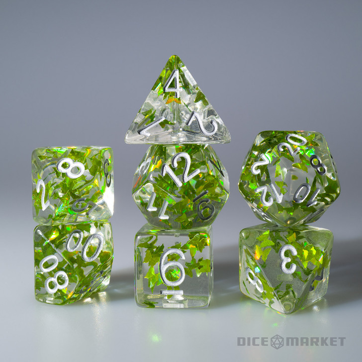 Green Butterflies Filled 7pc Polyhedral Dice Set with Silver Ink