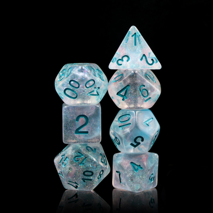 Winter Walker 7pc Polyhedral Dice Set For RPGs
