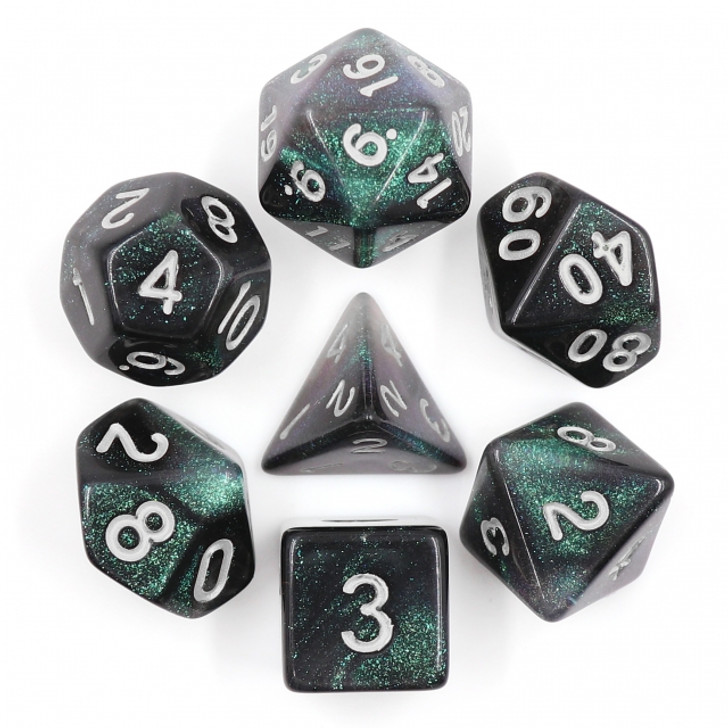 Everclear Aurora 7pc Dice Set with Silver Ink for TTRPGs