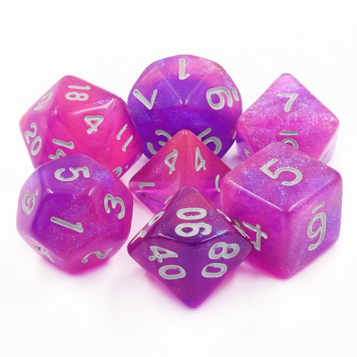 Royal Aurora 7pc Dice Set with Silver Ink for TTRPGs
