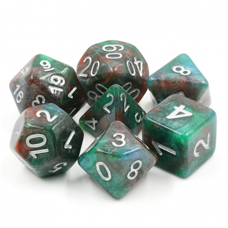 Bloodstone 7pc Dice Set with Silver Ink for TTRPGs
