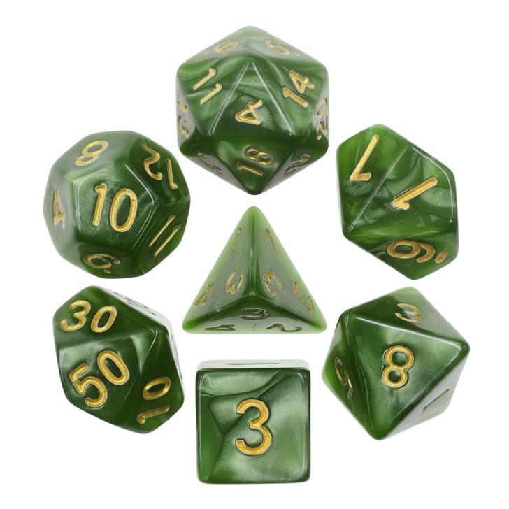 10mm Green Pearl 7pc Mini Polyhedral Dice Set