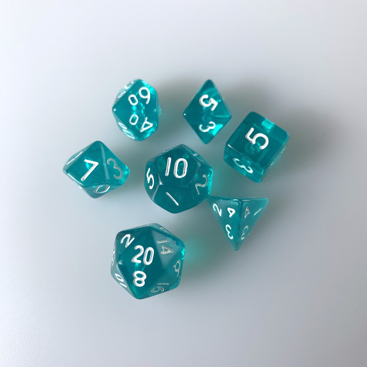 10mm Translucent Teal 7pc Mini Polyhedral Dice Set