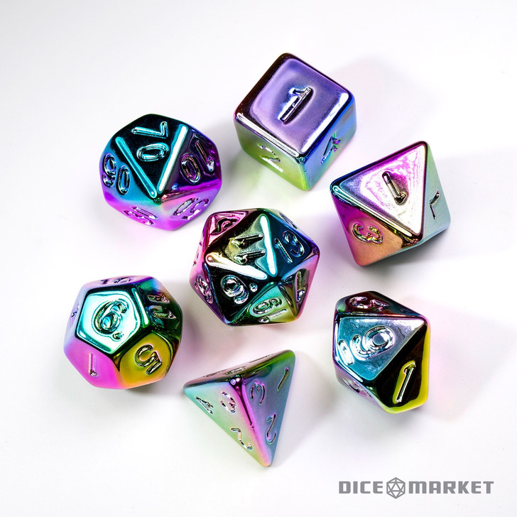 7pc Rainbow Faux Metal Polyhedral Dice Set