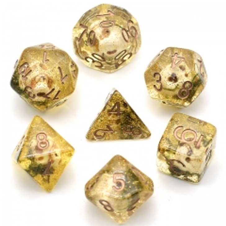 Skulls and Moss Glitter with Copper Ink 7pc Polyhedral Dice Set