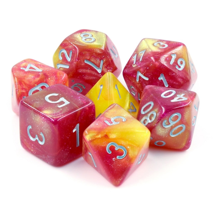 Solar Wind 7pc Dice Set with Silver Ink for TTRPGs