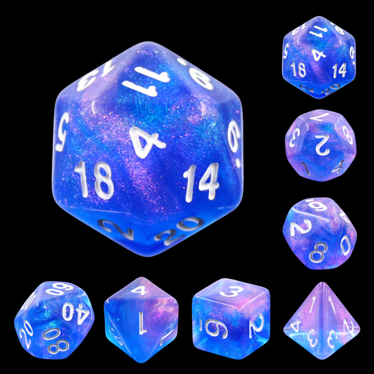 Sapphire Phantom 7pc Dice Set with Silver Ink for TTRPGs