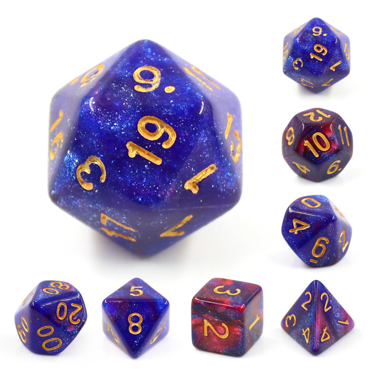 Rose Galaxy 7pc Dice Set with Gold Ink for TTRPGs