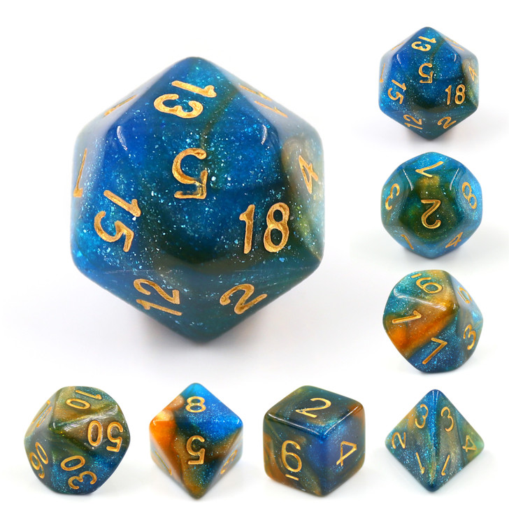River At Dusk 7pc Dice Set with Gold Ink for TTRPGs
