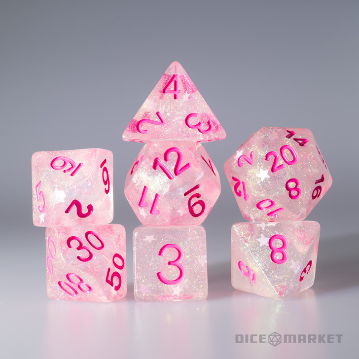 Pink Fine Glitter and White Stars with Pink Ink 7pc Polyhedral Dice Set