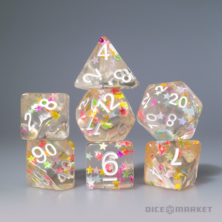 Mixed Stars with White Ink 7pc Polyhedral Dice Set