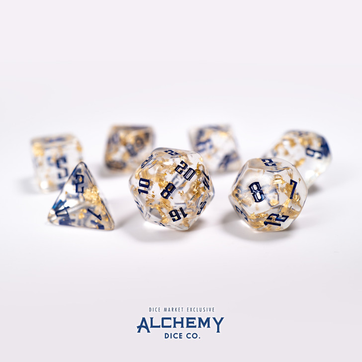 7pc Fragments of the Sun with Navy Ink by Alchemy Dice Co