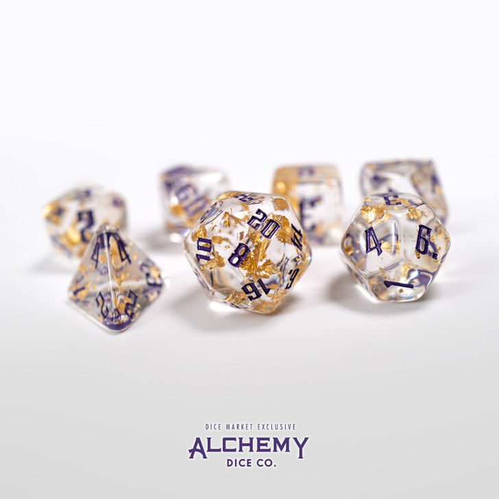 7pc Fragments of the Sun with Purple Ink by Alchemy Dice Co