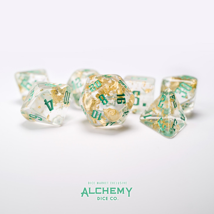 7pc Fragments of the Sun with Teal Ink by Alchemy Dice Co