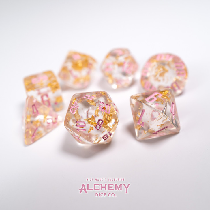 7pc Fragments of the Sun with Pink Ink by Alchemy Dice Co