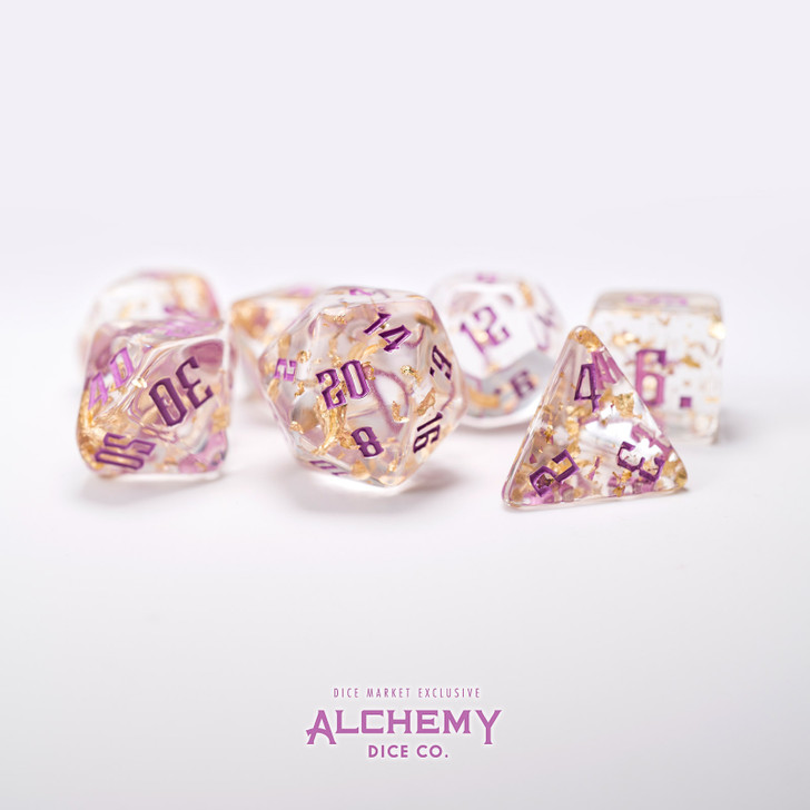 7pc Fragments of the Sun with Lilac Ink by Alchemy Dice Co