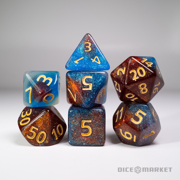 Blue Amber Glitter Shift Blended 7pc Dice Set
