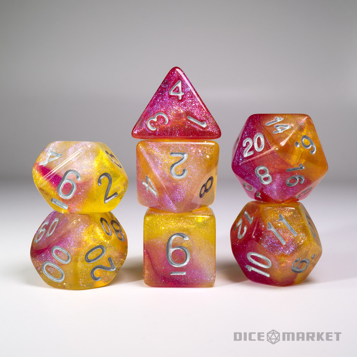 Yellow Purple Pink Glitter Shift Blended 7pc Dice Set