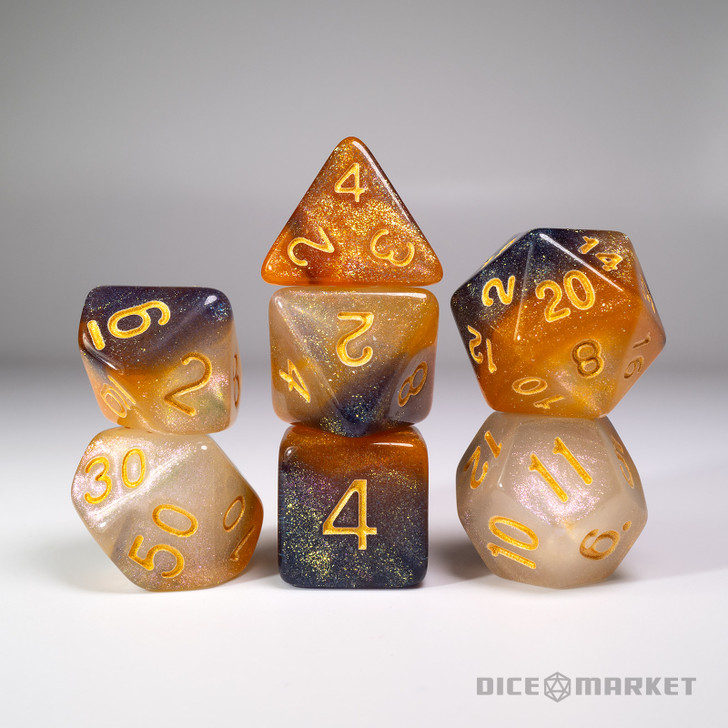Orange White Black Glitter Shift Blended 7pc Dice Set