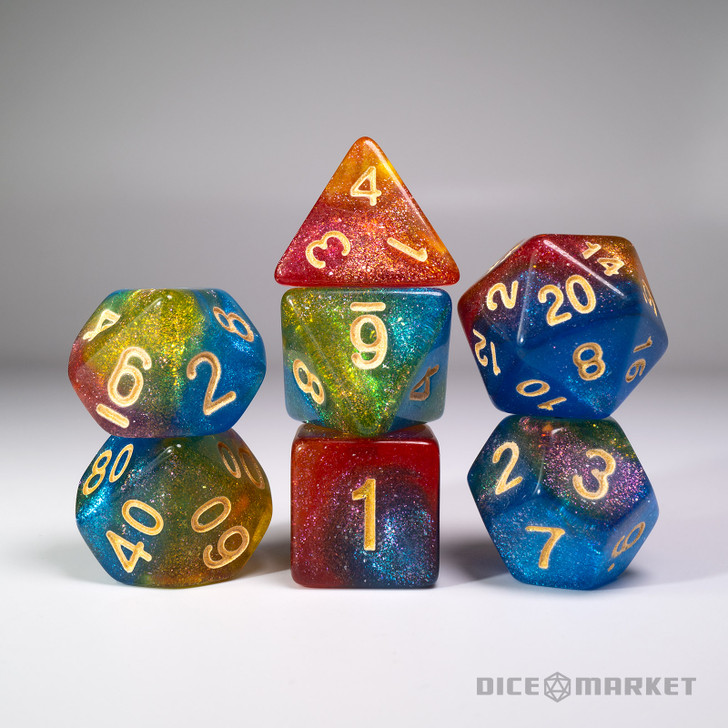 Blue Red Yellow Glitter Shift Blended 7pc Dice Set