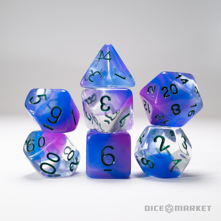 Clear with Blue and Purple Swirl 7pc Dice Set