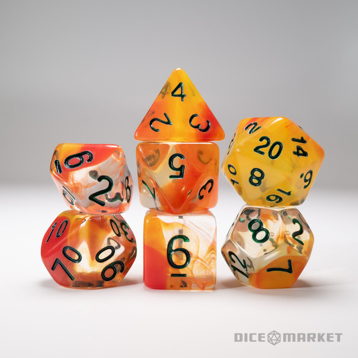 Clear with Red and Yellow Swirl 7pc Dice Set