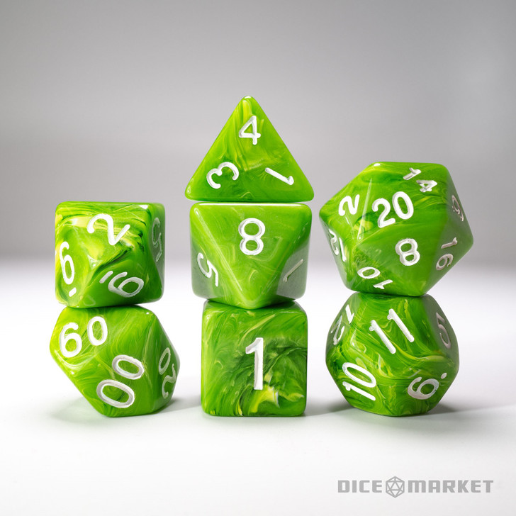 Opaque Green with Clear Swirl 7pc Dice Set