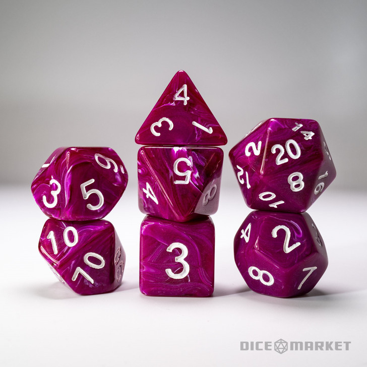Opaque Purple with Clear Swirl 7pc Dice Set