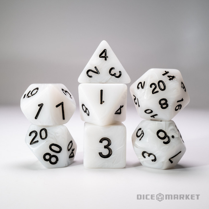 Opaque White with Clear Swirl 7pc Dice Set
