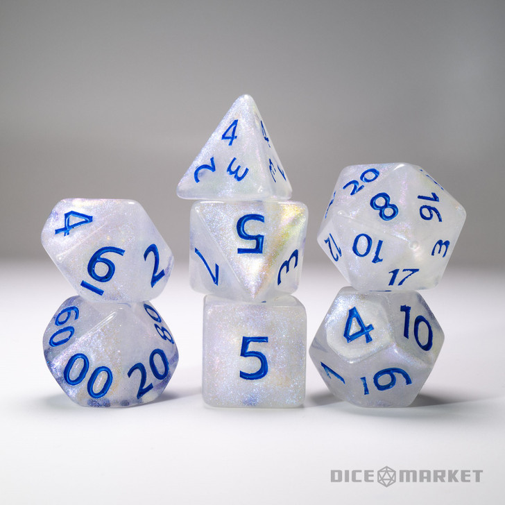 White with Pearlescent Pink Glitter with Blue Ink 7pc Dice Set
