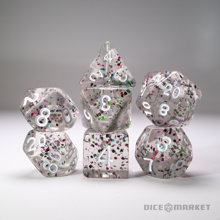 Clear with Rainbow Glitter White Ink 7pc Dice Set
