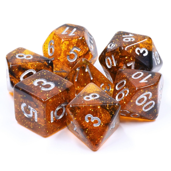 7pc Orange Glitter V.2 Polyhedral Dice Set
