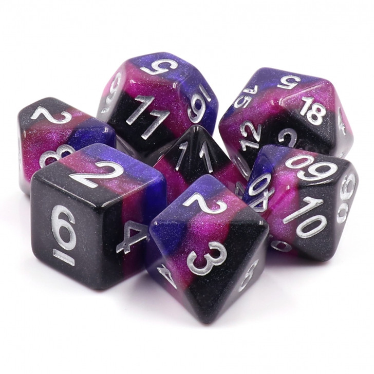 Midnight Galaxy 7pc Polyhedral Dice Set For RPGs
