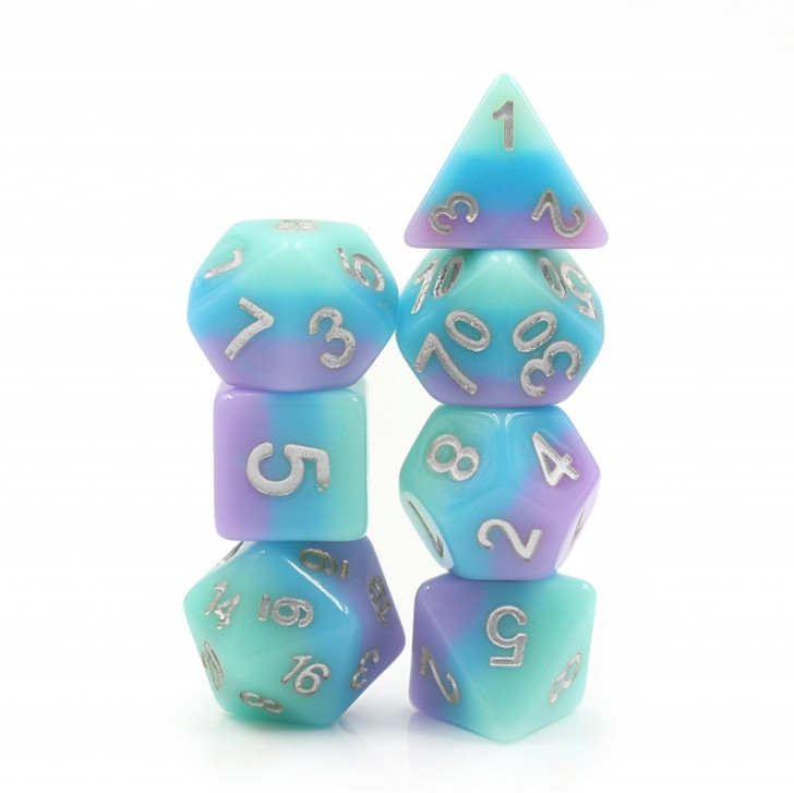 Fairy Tale 7pc Silver Ink Polyhedral Dice Set