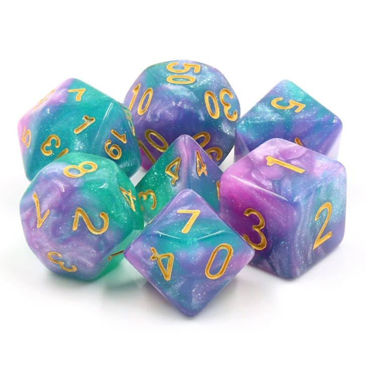 Byzantium 7pc Dice Set with Gold Ink for TTRPGs