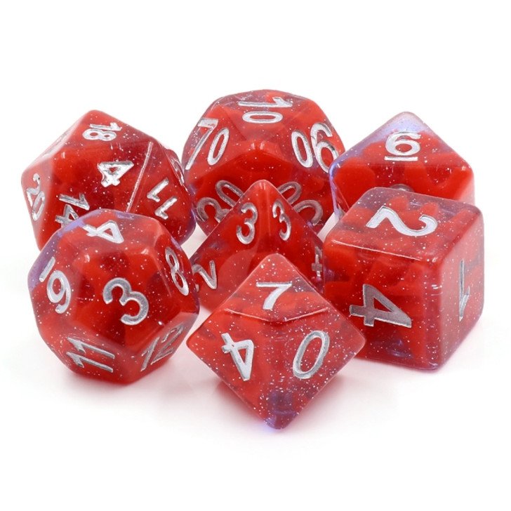 Crystal Rose 7pc Hollow Polyhedral Dice Set For RPGs