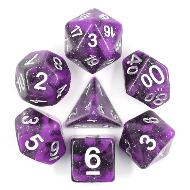 Black Unicorn 7pc Hollow Polyhedral Dice Set For RPGs