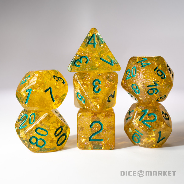 Gold Leaf with Green Ink 7pc Polyhedral Dice Set