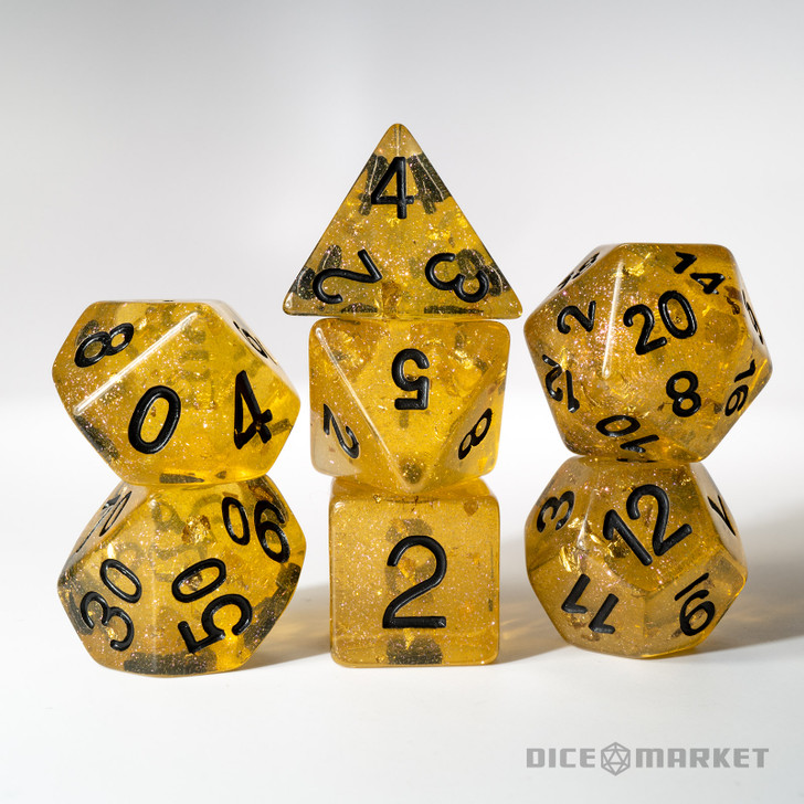 Gold Leaf with Black Ink 7pc Polyhedral Dice Set