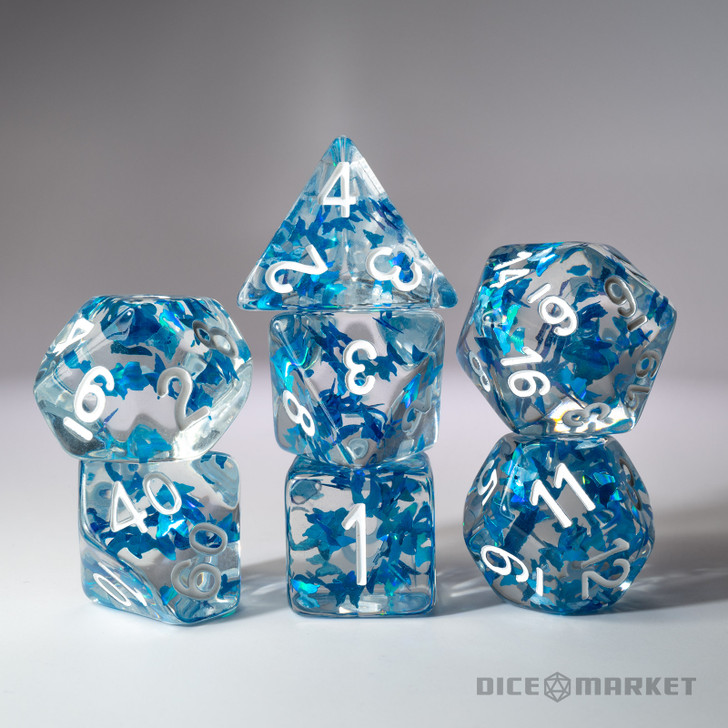 Blue Butterflies Filled 7pc Polyhedral Dice Set with White Ink