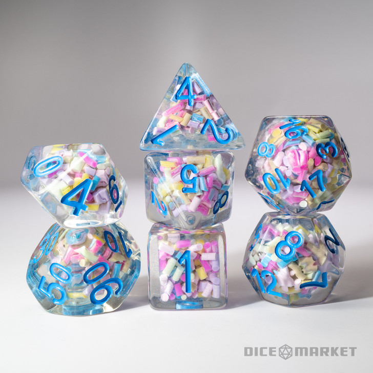 Candy Sprinkles Filled 7pc Polyhedral Dice Set with Blue Ink