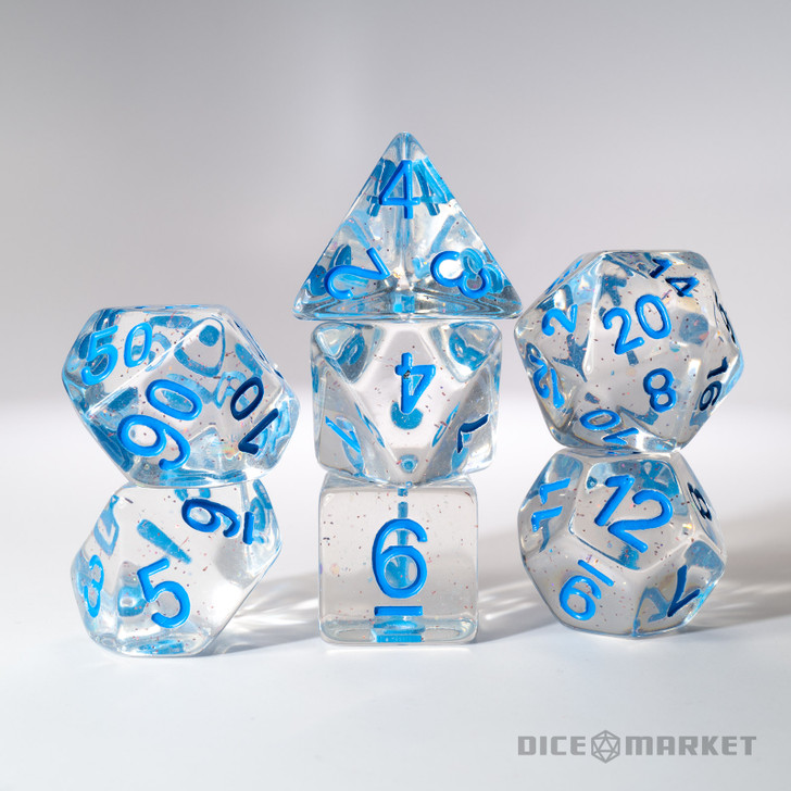 Clear Dice Fine Glitter with Blue Ink 7pc Polyhedral Dice Set