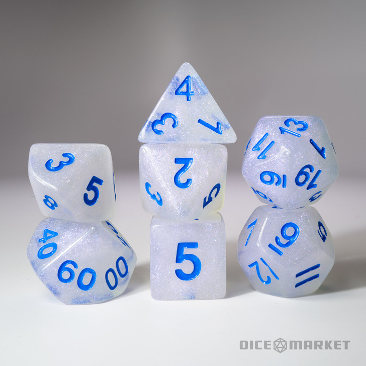7pc Fine Glitter with Blue Ink Polyhedral Dice Set